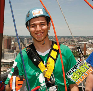 Photo Provided Even as a seasoned thrill-seeker, Jared Weiner, 18, says no amusement park ride compares to the exhilaration of the Rappel for Kidney Health.