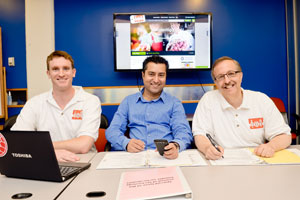 Foodem employee (from left) Tom Jepsen, Kash Rehman and Harry Kozlovsky say their product is cutting-edge. (David Stuck)