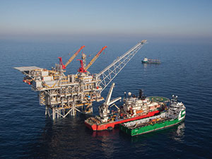 The Israeli gas rig, Tamar, is situated about 50 miles off Israel's northern coast. (Albatross Aerial photography/Nobel Energy/FLASH90)