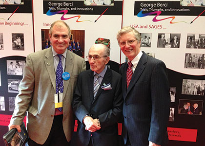 The work of Dr. George Berci (center) resulted in the high level of technology that is now available for the performance of a variety of  endoscopic and laparoscopic surgical procedures. (Provided)