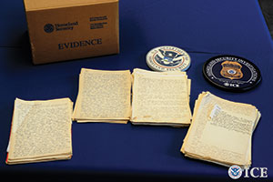 Federal officials and  representatives from the U.S. Holocaust Memorial  Museum in Washington,  D.C., have announced  the seizure of a long-lost diary kept by a close  confidant of Adolph Hitler, Alfred Rosenberg. (U.S. Immigration and Customs Enforcement)