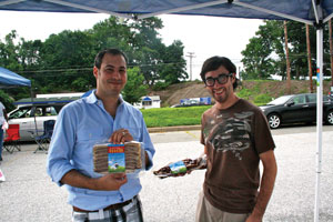 Chaim (left) and Hillel  Silverberg have brought kosher bacon to Pikesville. (photo by Dara Kramer)
