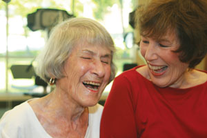 Every workout at the Edward A. Myerberg Center puts a smile on Mary Shofer's face. Here she shares a laugh with daughter Irene Merenbloom. (Provided)
