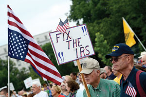 Tea Party Patriots rally to protest the Internal Revenue Service's targeting of Tea Party and grassroots organizations. (SHAWN THEW/EPA/Newscom)