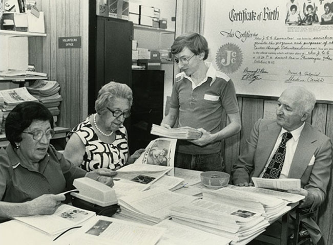 Volunteers get down to work at the JCC in this undated photo.