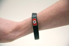 The Flag Shop in Baltimore's Inner Harbor was selling swastika wristbands, along with other wristbands from countries worldwide. The price: $3.99. (Marc Shapiro)