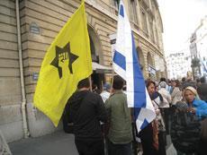 French Jewish Defense League activists demonstrate in Paris. (Ligue de Defense Juive/JTA)