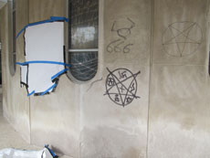 Police are looking into multiple vandalism incidents that occurred over the weekend. Shown here: a variety of anti-Semitic and satanic images drawn on the exterior of Baltimore Hebrew Congregation.