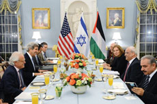 Secretary of State John Kerry hosted an Iftar dinner for Israeli Justice Minister Tzipi Livni (right, center) and Palestinian chief negotiator Saeb Erekat (next to Linvi) this past Monday at the U.S. Department of State in Washington.
