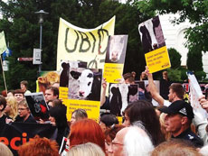 Polish animal rights demonstrators hold a rally in Warsaw opposing ritual slaughter.