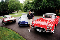 Steven Lesser shows off (from left) his 1967, 2005 and 1962 Corvettes.  (David Stuck)