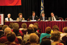 From left: Marcie Nathan, Sherry Altura, Dr. Jeffrey Kahn, Dr. Josh Schroeder and Rabbi Avram Reisner take on bioethical questions at Hadassah's annual meeting in Baltimore. (Provided)
