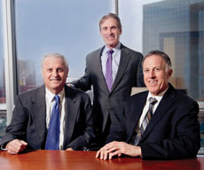 From left, Maurice Offit, Howard Kurman and Ted Offit have been together as law partners for a quarter of a century. Over the past 12 years, they have added 90 attorneys to their practice and opened seven additional offices. ( David Stuck)