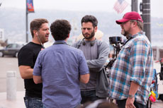 """Brian Levin, second from right, is currently in production for his new feature film, """"Flock of Dudes."""" (Provided)"""