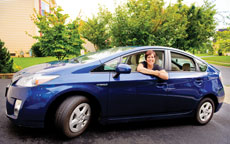 Jane Sacks Rice takes a ride in her Toyota Prius, a hybrid vehicle. ( David Stuck)