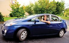 Jane Sacks Rice takes a ride in her Toyota Prius, a hybrid vehicle. ( David Stuck)