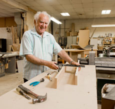 Holocaust survivor Israel Gruzin, 84, feels blessed that his woodworking skills have provided a valued service to the community. Photo by David Stuck