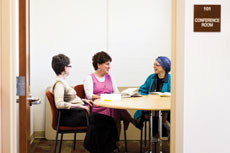 From left: Happiness Club members Joyce Dreyfuss, Betty Cherniak and Sema Ely discuss the different ways they make themselves happy. (Justin Tsucalas)