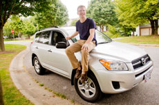 Ricky Lasser takes the family's Toyota RAV4 to and from the University of Maryland, where he is a sophomore. (David Stuck)