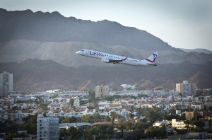 An airplane of the Arkia airline takes off from the airport in the Southern Israeli city of Eilat.  Photo credit: Moshe Shai/FLASH90
