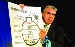 """Yair Lapid said his party, YeshAtid, """"will not sit as a fig leaf"""" in acenter-right government. Yossi Zeliger/Flash90/JTA"""