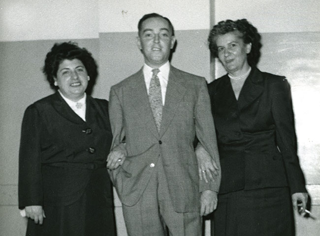 Jacob Fisher joins two unidentified women at a 1951 Housing Authority of Baltimore event.