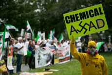 Protestors rally on Capitol Hill in support of a U.S. strike against Syria. (Drew Angerer/Getty Images)