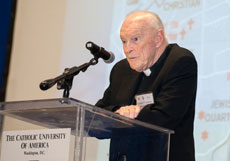 Cardinal Theodore McCarrick,  archbishop emeritus of Washington, D.C., says it is not too late for peace in the Middle East. (Ed Pfueller/The Catholic University of America)