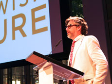 Michael Chabon accepts an achievement award from the Foundation for Jewish Culture in June 2013. (Shulamit Seidler-Feller)