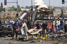 Paramedics and police at the scene of a Palestinian suicide bombing, which killed 19 and injured 74, on a bus in Jerusalem on June 18, 2002. Twenty years after the Sept. 13, 1993 signing of the Oslo Accords, and amid new Israeli-Palestinian  conflict negotiations, the two-decades-old accords are debated rather than  celebrated. (Flash90)