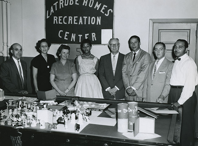 Supporters of Latrobe Homes pose at the Bureau of Recreations open house on Aug. 22, 1958.