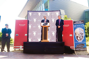 Marc Corwin (left), president of American Exhibitions Inc., and Van Reiner, president and CEO of the Maryland Science Center, address the media about the 'Mummies of the World' exhibit, which opens Sept. 28.
