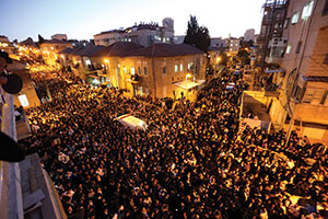 A sea of black filled the streets of northern Jerusalem earlier this week for the funeral  of Rabbi Ovadia Yosef. (Photo by Yaakov Naumi/Flash90)