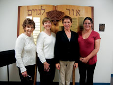 The current adult b'nai mitzvah class at Baltimore Hebrew  Congregation just began its two-year process. Class  members are (from left): Alma Bergman, Chris Erd, instructor  Cantor Ann Sacks and Marci Messick. Not shown is Erin Gleeson.