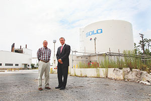 Brian Gibbons and Leonard Weinberg II stand by the Solo Plant. Gibbons wants to turn the Solo Plant into Foundry Row. (Justin Tsuclas)