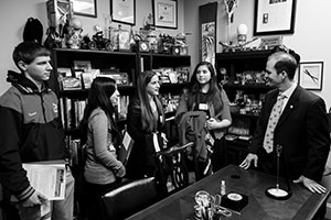 Temple Emanuel students Aaron Israel, Sara Abramson, Morgan Caplan and Rachel Yarsky talk with Del. Jon Cardin. (Photo by Justin Tsucalas)
