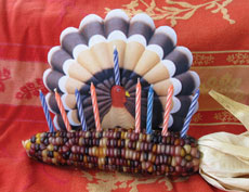 With the cornukiyah, writer Edmon J. Rodman creates  a centerpiece suitable for a Thanksgivukkah table.