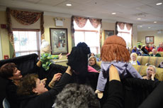 The Beth Tfiloh Puppeteers perform their Chanukah show at Emeritus Senior Living, where Dena Schrier, life  enrichment director, says residents are treated to special events three times a week. (Photos by Melissa Gerr)