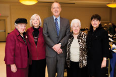 Amit honored several of the organization's longtime volunteers at a gala at Bnai Jacob Shaarei Zion on Sunday, Nov. 17. Shown here, from left: Sonia Greenspon, Selma Mosgin, Russell  Hendel, Isabel Levinson and Fern Friedel. (David Stuck)