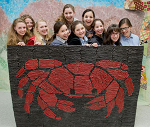 The young women of Bais Yaakov have created stunning works of art — out of any number of materials. Shown here, one group has constructed a crab from Twizzlers. (David Stuck)
