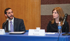 Tamar Epstein and Rabbi Jeremy Stern were part of a 2012 Yeshiva University discussion to raise awareness on the plight of agunot. (provided)