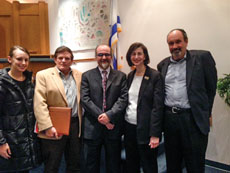 Beth Shalom Congregation is spearheading area efforts to bring Jews and Muslims together to talk about pressing issues, such as Middle East peace. From left: Mandee Heinl and Art Abramson, both of the Baltimore Jewish Council; Ghaith al-Omari, American Task Force in Palestine; Rabbi Susan Grossman, Beth Shalom; and David Pollock, Washington Institute for Near East Policy. (Provided)