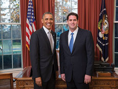 Ron Dermer, Israeli ambassador to the U.S., meets with President Obama. (The Embassy of Israel to the United States)