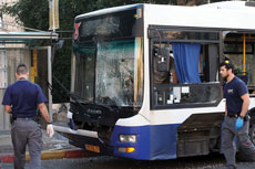 The explosion of a pipe bomb on a passenger bus in Bat Yam on Dec. 22 was part of a recent upsurge in Palestinian terrorism that runs parallel to Israel-Palestinian conflict negotiations. (Gideon Markowicz/FLASH90)