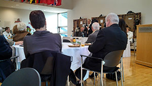 Delegate Jon Cardin addresses  the Pikesville Chamber of Commerce at its Legislative Breakfast. (Heather Norris)