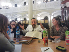 Rabbi Michael Schudrich, chief rabbi of Poland, learns with members of the Polish Jewish community.