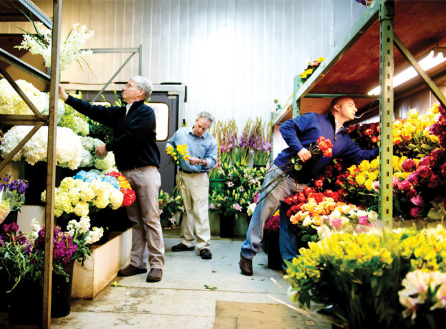 "12:41 p.m.  Mark, Eric and Eddie Wingrat work in the ""candy store,"" the nickname affectionately given to the cooler where their flowers await cutting, pruning and planting to create displays or bouquets. The busy days at the family-owned-and-operated Flowers & Fancies in Owings Mills involve taking orders from individuals, hotels and supermarkets, checking on their stock and ordering new blossoms. Of the sometimes-crazy requests they receive from customers: ""We always say yes!"" says Eddie. ""We just say it with flowers."""