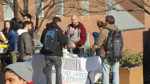 Messianic Jews, also known as Hebrew Christians, hand out latkes and sufganiyot at the University of Maryland, College Park.