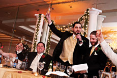 Co-best men Mark Karafin (left) and Marc Shapiro give their speeches at the wedding of longtime friend Mike Ewing in March 2012. (provided)