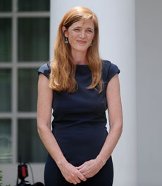 "Ambassador Samantha Power calls for an end to ""every assault on personal dignity."" (Olivier Douliery/ABACAUSA.com/Newscom)"